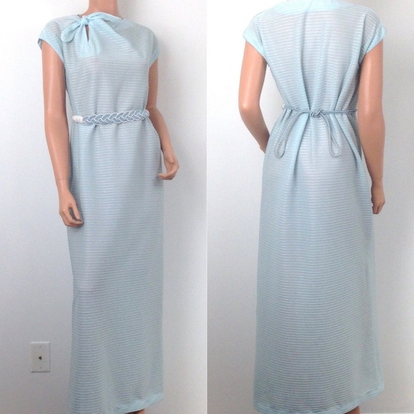 Vintage Dresses | Vtg Pastel Blue Long Dress Evening Gown Prom 1960s ...